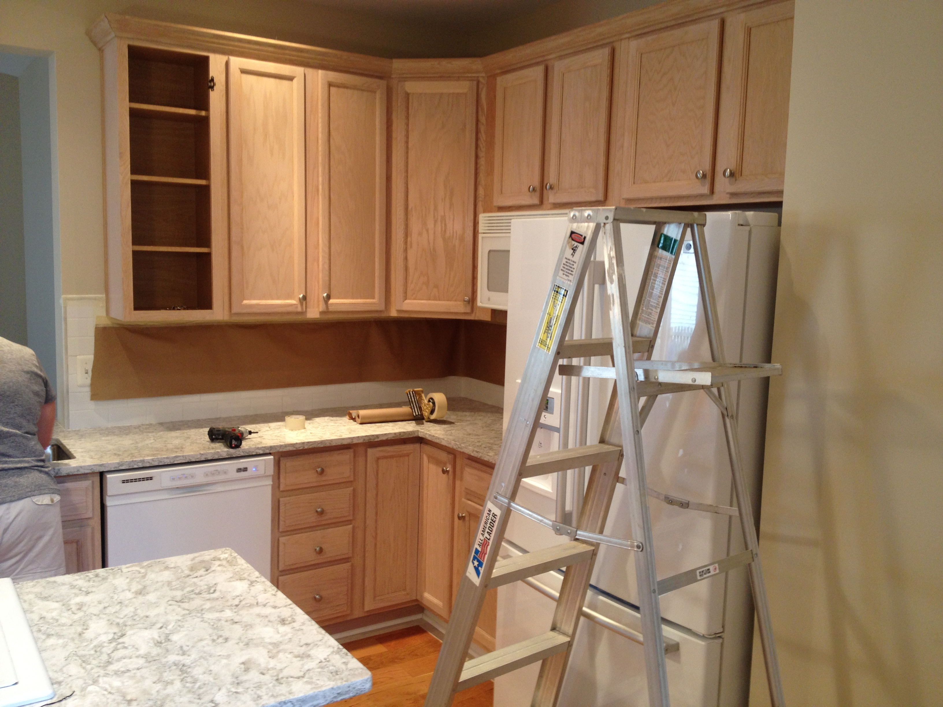 Kitchen cabinet painting american painting for Bleached wood kitchen cabinets